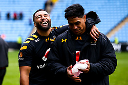 Lima Sopoaga of Wasps and Malakai Fekitoa of Wasps celebrate victory over Worcester Warriors - Mandatory by-line: Robbie Stephenson/JMP - 12/10/2019 - RUGBY - Ricoh Arena - Coventry, England - Wasps v Worcester Warriors - Premiership Rugby Cup