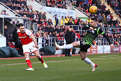 Richie Towell of Rotherham United crosses the ball into the penalty area - Mandatory by-line: Ryan Crockett/JMP - 24/02/2018 - FOOTBALL - Aesseal New York Stadium - Rotherham, England - Rotherham United v Doncaster Rovers - Sky Bet League One