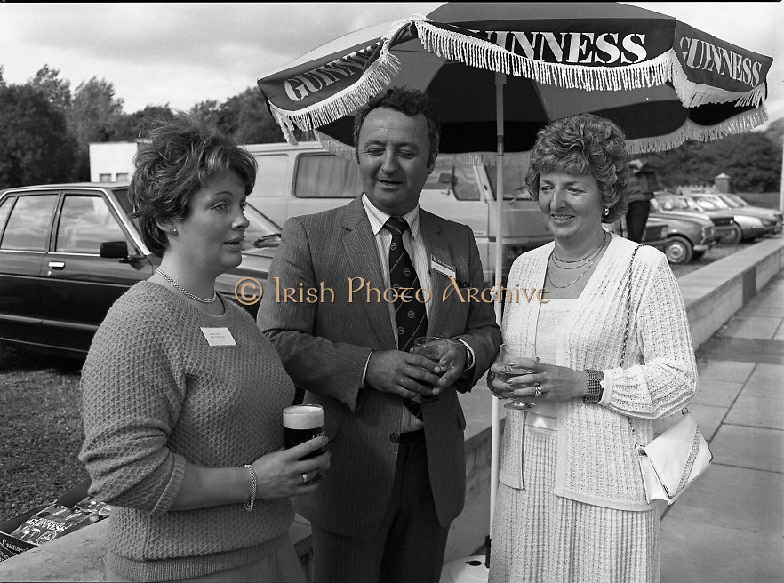 Galway Oyster Festival..1982.09.09.1982.09.09.1982.9th September 1982...Group picture taken at .The Festival was held on the banks of the Shannon at Portumna Co.,Galway..It was held in the picturesque new marina. The event was sponsored by Guinness. Emerald Star line were also represented..Having a break were Mrs.,Sandra Lefroy,Emerald Star line, Mr. John O'Flynn,Area Representative Guinness Group, and Ms. Ann Flanagan,Secretary , Galway Oyster Festival.