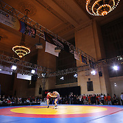 Coleman Scott, USA, (blue) in action against Artas Sanaa, Russia, (red) as wrestlers from USA, Iran and Russia compete at Grand Central Terminal as part of the Beat the Streets Gala. Billed ?The Rumble On The Rails,? the international wrestling event showcased competition as part of World Wrestling Month. Vanderbilt Hall, Grand Central Station, Manhattan,New York. USA. 15th May 2013. Photo Tim Clayton