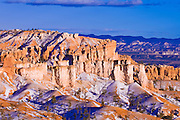 Evening light and fresh snow on Bristlecone Point, Bryce Canyon National Park, Utah