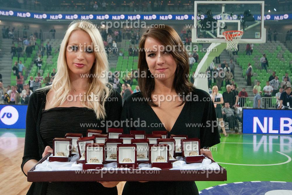 Hostesses with championship rings during final match of Basketball NLB League at Final Four tournament between KK Union Olimpija (SLO) and Partizan Belgrade (SRB), on April 21, 2011 at SRC Stozice, Ljubljana, Slovenia. (Photo By Matic Klansek Velej / Sportida.com)