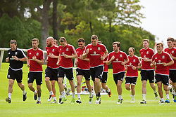 VALE DO LOBO, PORTUGAL - Thursday, May 26, 2016: Wale players training during day three of the pre-UEFA Euro 2016 training camp at the Vale Do Lobo resort in Portugal. Aaron Ramsey, James Collins, Chris Gunter, Hal Robson-Kanu, Sam Vokes, Adam Matthews, David Vaughan, Simon Church George Williams. (Pic by David Rawcliffe/Propaganda)