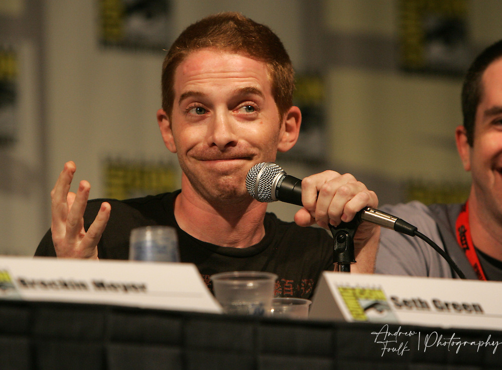"Andrew Foulk/ Zuma Press.July 23, 2009, San Diego, California, USA. Seth Green Comic Con.  Actor, Seth Green, speaks to about the upcoming season of his ""Cartoon Network"" show ""Robot Chicken"" , during day one of the 40th annual San Diego International Comic Con."