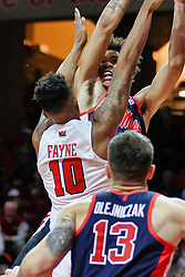 NORMAL, IL - December 08: KJ Buffen meets Phil Fayne on his way to the hoop during a college basketball game between the ISU Redbirds and the University of Mississippi (Ole Miss) Rebels on December 08 2018 at Redbird Arena in Normal, IL. (Photo by Alan Look)