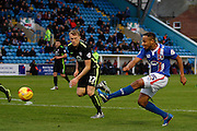 Carlisle United Forward Derek Asamoah hits the shot during the Sky Bet League 2 match between Carlisle United and York City at Brunton Park, Carlisle, England on 23 January 2016. Photo by Craig McAllister.