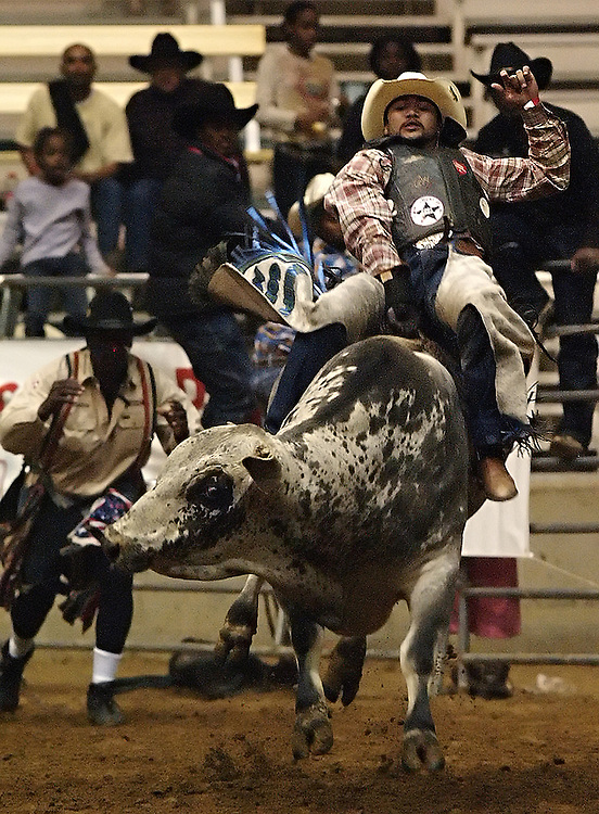 """The Bill Pickett Rodeo, based in Denver, Colorado, is the only all-black invitational rodeo in America.  Black cowboys compete seasonally for points toward the best-all-around cowboy at rodeo events in major U.S. cities.  ..Contact Larry Price for specific info on individual images....wikipedia.org article on Bill Pickett:..Bill Pickett was born near Taylor, Texas in 1870. He was later called the """"Greatest Cowboy"""" of his day. Bill Pickett was one of five boys among the Picketts' thirteen children. Bill left school in the 5th grade to become a ranch hand, and soon he began to ride horses and watch the long horn steers of his native Texas. It was known among cattlemen that, with the help of a trained bulldog, a stray steer. Bill Pickett had seen this happen on many occasions. He also thought that if a bulldog could do this feat, so could he. Bill Pickett practiced his stunt by riding hard and springing from his horse and wrestling the steer to the ground. Bill Pickett soon became known for his tricks and stunts at local country fairs. With his four brothers, he established The Pickett Brothers Bronco Busters and Rough Riders Association. The name of Bill Pickett soon became synonymous with successful Rodeos. He did his Bull-Dogging act, traveling about in Texas, Arizona, Wyoming and Oklahoma. In 1905 he joined the 101 Wild West Shows as they traveled across the country and in Canada, South America, and even Great Britain. In 1921, he appeared in the films, The Bull Dogger and The Crimson Skull...In 1932, after he retired from the Wild West Shows, Bill Pickett was killed when he was kicked in the head by a wild bronco. In 1971 Bill Pickett was inducted into the National Rodeo Cowboy Hall of Fame.[3]"""