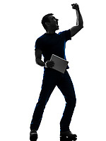 one  man holding digital tablet in silhouette on white background