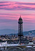City and San Sebastian tower, Barcelona, Spain