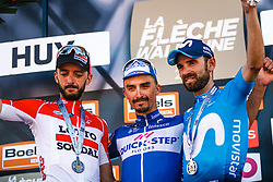 Podium with winner ALAPHILIPPE Julian of Quick-Step Floors after the 2018 La Flèche Wallonne race, Huy, Belgium, 18 April 2018, Photo by Thomas van Bracht / PelotonPhotos.com | All photos usage must carry mandatory copyright credit (Peloton Photos | Thomas van Bracht)