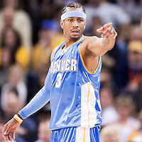 10 April 2008: #3 Allen Iverson of the Denver Nuggets is seen during the Denver Nuggets 114-105 victory over the Golden State Warriors at the Oracle Arena in Oakland, CA.