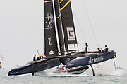 The Great Sound, Bermuda. 10th June 2017. Artemis Racing (SWE) in the first race of the Louis Vuitton America's Cup Challenger playoff finals. Emirates Team New Zealand win race 1.
