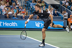 August 17, 2018 - Mason, OH, U.S. - CINCINNATI, OH - AUGUST 17:   Stan Wawrinka of Switzerland serves to Roger Federer of Sweden during Day 6 of the Western and Southern Open at the Lindner Family Tennis Center on August 17, 2018 in Mason, Ohio. (Photo by Shelley Lipton/Icon Sportswire) (Credit Image: © Shelley Lipton/Icon SMI via ZUMA Press)