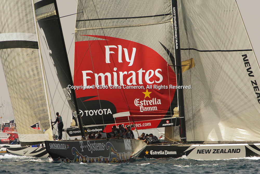Emirates Team New Zealand NZL84 and Shoshaloza RSA83 in pre-race manouvers for their day five match of the Louis Vuitton Act 12. 27/6/2006