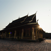 Courtyard of Wat Si Saket at sunrise