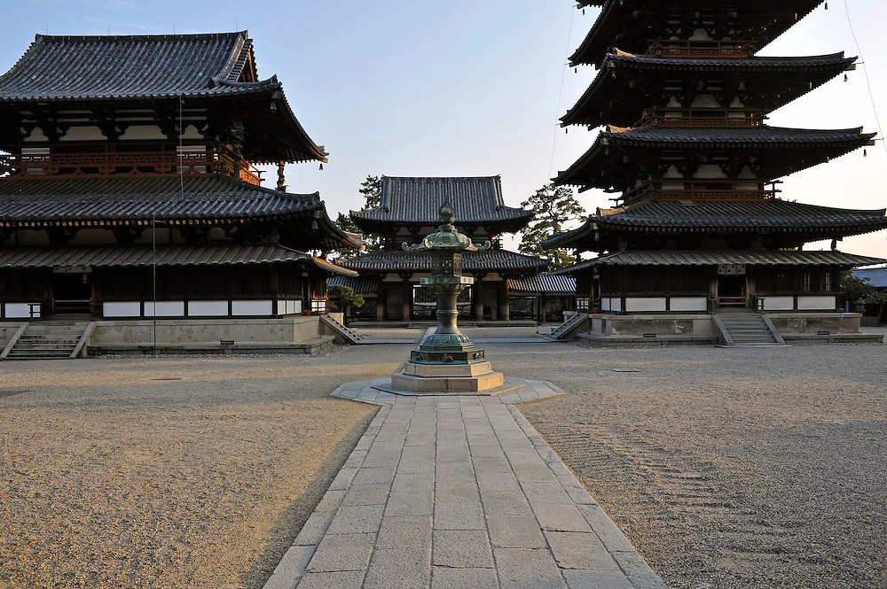 Five-story pagoda right and main hall left..H?ry?-ji is one of Japan's oldest Buddhist temples..Its main hall, five storied pagoda and central gate, dating from the 7th century, are the world's oldest surviving wooden structures.