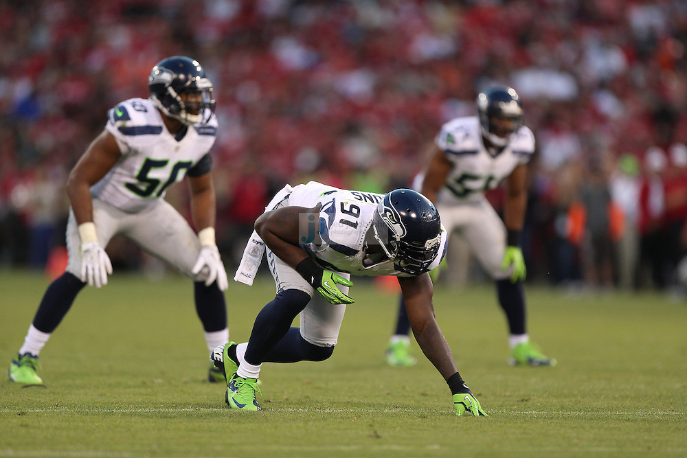 Seattle Seahawks defensive end Chris Clemons (91) lines up against the San Francisco 49ers on Thursday, Oct. 18, 2012 at Candlestick Park in San Francisco. (AP Photo/Jed Jacobsohn)