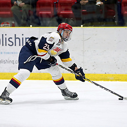 WELLINGTON, ON - FEBRUARY 10: Dylan Massie #25 of the Wellington Dukes skates with the puck in the third period on February 10, 2019 at Wellington and District Community Centre in Wellington, Ontario, Canada.<br /> (Photo by Ed McPherson / OJHL Images)
