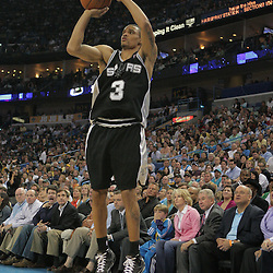 29 March 2009: San Antonio Spurs guard George Hill (3) shoots a three pointer during a 90-86 victory by the New Orleans Hornets over Southwestern Division rivals the San Antonio Spurs at the New Orleans Arena in New Orleans, Louisiana.