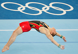 Germany's Fabian Hambuechen competes on the floor during the artistic gymnanstics men's qualifications in the National Indoor Stadium during the Olympic games in Beijing, China, 09 August 2008.