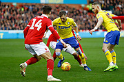 Leeds United defender Barry Douglas (3) in action  during the EFL Sky Bet Championship match between Nottingham Forest and Leeds United at the City Ground, Nottingham, England on 1 January 2019.