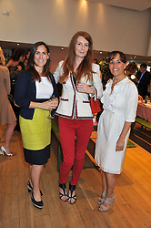 Left to right, ANTONIA THORP, ANGELA DUNN and SARAH MANLEY at a ladies lunch in aid of Mothers4Children hosted by Carmelbabyandchild at 259 Pavillion Road, London SW1 on 30th June 2011.