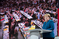 07 DEC 2018, HAMBURG/GERMANY:<br /> Angela Merkel, CDU, Bundeskanzlerin, haelt Ihre letzte Rede als Parteivorsitzende, CDU Bundesparteitag, Messe Hamburg<br /> IMAGE: 20181207-01-026<br /> KEYWORDS: party congress, speech