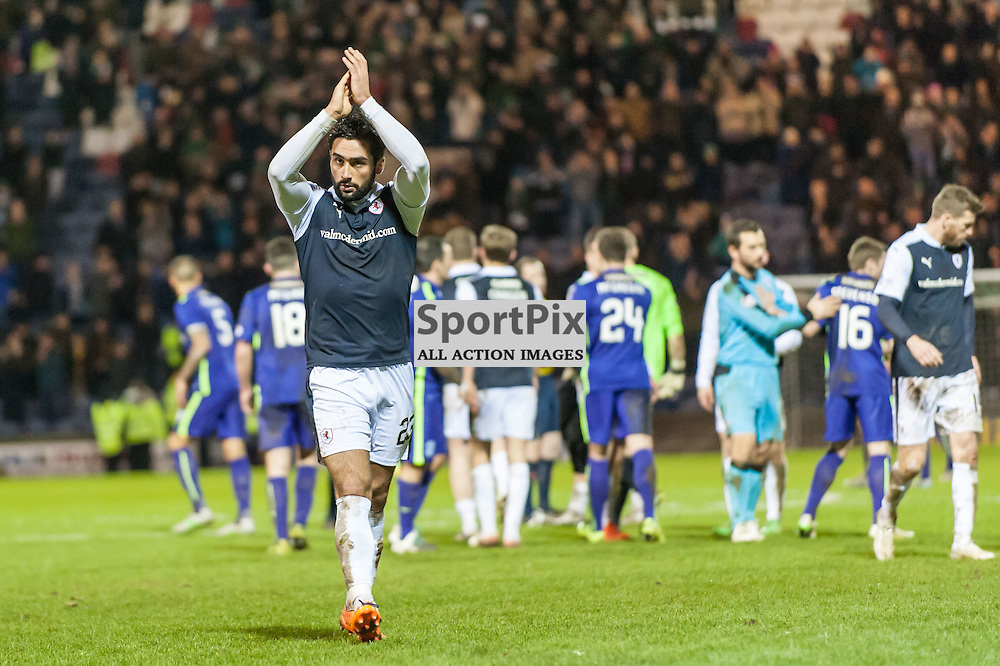 Raith Rovers Rory McKeown claps the fans after losing 2-0.  Action from the Raith Rovers v Hibernian game in the 3rd Round of the Scottish Cup at  in Kirkcaldy, 9 January 2016. (c) Paul J Roberts / Sportpix.org.uk