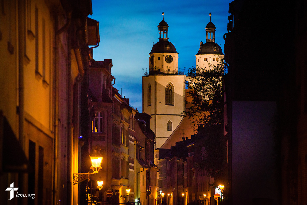 Dusk frames the Town and Parish Church of St. Mary's on Monday, May 4, 2015, in Wittenberg, Germany. LCMS Communications/Erik M. Lunsford