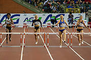Sage Watson (Canada) winning the Women's 400m Hurdles, Janieve Russell (Jamaica), Hanne Claes (Belgium), Paulien Couckuyt (Belgium) during the IAAF Diamond League event at the King Baudouin Stadium, Brussels, Belgium on 6 September 2019.