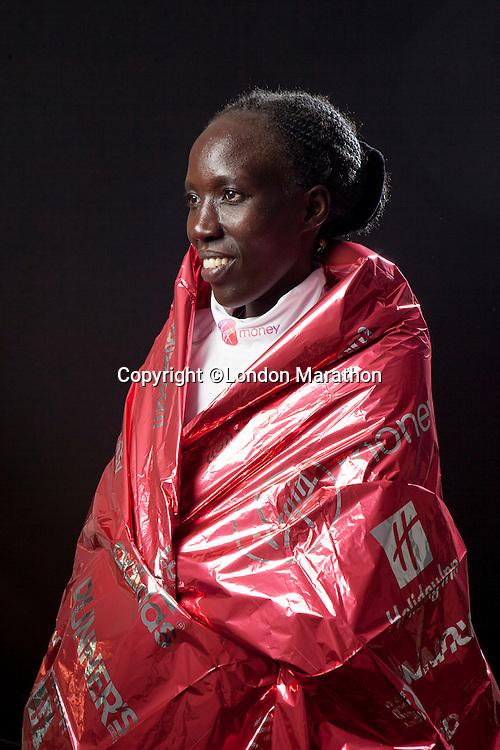 Edna Kiplaget of Kenya, winner of the Elite Women's race at the Money London Marathon 2014 on Sunday 13 April 2014<br /> Photo: Neil Turner/Virgin Money London Marathon<br /> media@london-marathon.co.uk