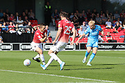 Ryan Broom shoots and scores the opening goal  during the EFL Sky Bet League 2 match between Salford City and Cheltenham Town at Moor Lane, Salford, United Kingdom on 14 September 2019.