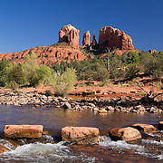 The majestic Cathedral Rock at Red Rock Crossing in Sedona, Arizona. This is one of the most photographed sites in Arizona.