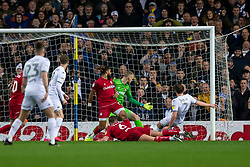Luke Ayling of Leeds United scores their first goal to make the score 1-0  - Mandatory by-line: Daniel Chesterton/JMP - 15/02/2020 - FOOTBALL - Elland Road - Leeds, England - Leeds United v Bristol City - Sky Bet Championship