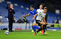 Football - 2020 / 2021 EFL Cup - Round Two - Brighton & Hove Albion vs Portsmouth<br /> <br /> Brighton & Hove Albion's Alireza Jahanbakhsh battles with Portsmouth's Cameron Pring, at the Amex Stadium.<br /> <br /> COLORSPORT/ASHLEY WESTERN