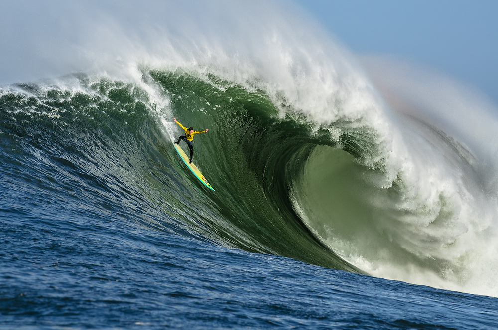 Zach Wormhoudt surfing Mavericks. Half Moon Bay, CA