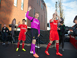 LIVERPOOL, ENGLAND - Thursday, April 10, 2014: Liverpool's xxxx launch the new Warrior home kit for 2014/2015 at the Liverpool One shopping centre. (Pic by David Rawcliffe/Propaganda)
