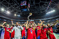 Team Portugal during medal ceremony after the Final match of UEFA Futsal EURO 2018, on February 10, 2018 in Arena Stozice, Ljubljana, Slovenia. Photo by Ziga Zupan / Sportida
