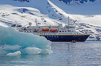 The National Geographic Explorer in the ice at Hornsund in Burgerbukta in Svalbard archipeligo, Norway.