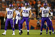 DENVER, CO - AUGUST 11:  Brian O'Neill #75, Josiah Price #87 and Cedrick Lang #68 of the Minnesota Vikings line up to block during a game against the Denver Broncos during week one of preseason at Broncos Stadium at Mile High on August 11, 2018 in Denver, Colorado.  The Vikings defeated the Broncos 42-28.  (Photo by Wesley Hitt/Getty Images) *** Local Caption *** Brian O'Neill; Josiah Price; Cedrick Lang
