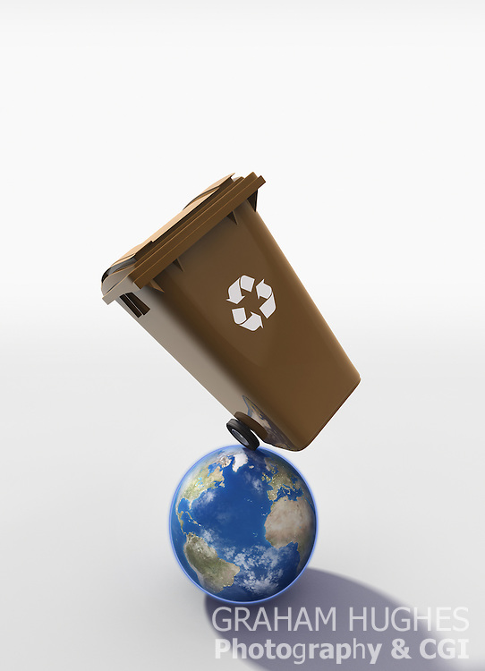 Brown plastic wheelie bin balancing on world. Recycling logo on front of bin. With shadow on white background.