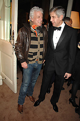 Left to right, NICKY HASLAM and SIR STUART ROSE at a party to celebrate the publication of Top Tips For Girls by Kate Reardon held at Claridge's, Brook Street, London on 28th January 2008.<br />
