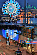 United States, Washington, Seattle, Waterfront, Ferris wheel, Big Wheel, Fish Bar