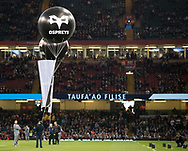 A general view of Principality Stadium balloons with the Ospreys branding<br /> <br /> Photographer Simon King/Replay Images<br /> <br /> Guinness PRO14 Round 21 - Cardiff Blues v Ospreys - Saturday 28th April 2018 - Principality Stadium - Cardiff<br /> <br /> World Copyright &copy; Replay Images . All rights reserved. info@replayimages.co.uk - http://replayimages.co.uk