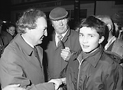 Image of Fianna Fáil leader Charles Haughey touring West Cork during his 1982 election campaign...04/02/1982.02/04/82.4th February 1982..Generation game:..Charles Haughey showing he is a man for all ages..