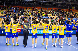 Players of Celje  celebrate after the handball match between RK Celje Pivovarna Lasko and IK Savehof (SWE) in 3rd Round of Group B of EHF Champions League 2012/13 on October 13, 2012 in Arena Zlatorog, Celje, Slovenia. (Photo By Vid Ponikvar / Sportida)