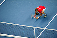 Mariusz Fyrstenberg of Poland competes at men's double game during second day of the BNP Paribas Davis Cup 2013 between Poland and South Africa at MOSiR Hall in Zielona Gora on April 06, 2013...Poland, Zielona Gora, April 06, 2013..Picture also available in RAW (NEF) or TIFF format on special request...For editorial use only. Any commercial or promotional use requires permission...Photo by © Adam Nurkiewicz / Mediasport