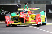 ABT Schaeffler Audi Sport driver, Lucas Di Grassi with a wheel in the air during round 10, Formula E, Battersea Park, London, United Kingdom on 3 July 2016. Photo by Matthew Redman.
