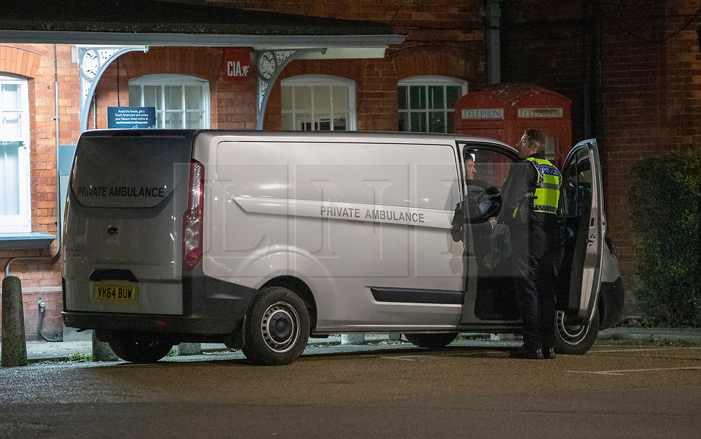 © Licensed to London News Pictures. 04/01/2019. Horsley, UK. A private ambulance waits at Horsley Railway station in Surrey where a man has been stabbed to death on a train. A murder investigation has been launched after the man was attacked while on board the 12. 58pm train service travelling between Guildford and London Waterloo. . Photo credit: Peter Macdiarmid/LNP