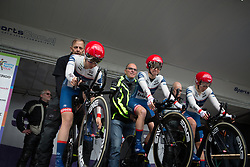 Cervélo-Bigla Cycling Team riders concentrate before rolling off the start ramp during Stage 2 of the Healthy Ageing Tour - a 19.6 km team time trial, starting and finishing in Baflo on April 6, 2017, in Groeningen, Netherlands.